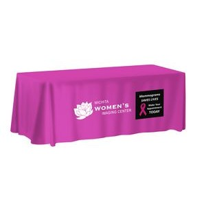 8' NON-FITTED Front Print ONLY Table Cover (with Stock Fabric Colour)